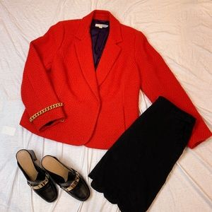 BODEN Red Orange Snap Button Blazer